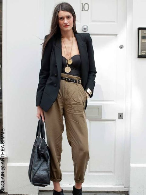<p>Laura, 27. Aqua Brand Manager. Zara jacket and trousers, Primark body, Fink @ beyond the valley boots, McQueen bag, medallions from Portobello.</p>