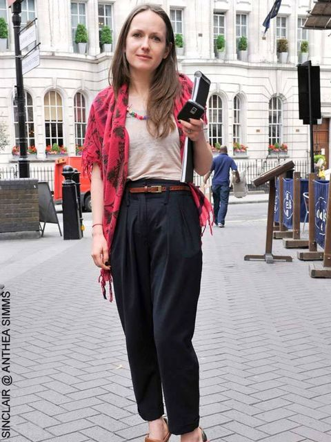 <p>Arlette, 26, Liberty. ??Whistles trousers, friend's t-shirt, Marni shoes, ?Mulberry belt, friend's scarf</p>