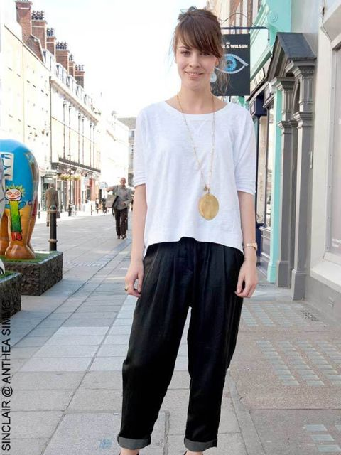 <p>Kate, 26, Student. Whistles trousers, top and necklace, ?New Look shoes</p>