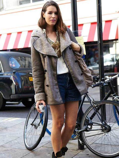 "<p>Lisa Bain, Writer. <a href=""http://shopping.elleuk.com/browse?fts=topshop"">Topshop</a> jacket, Levi shorts, River Island boots. </p>"