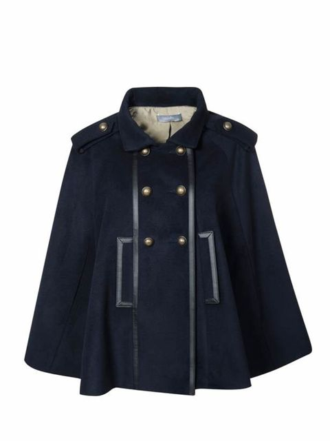 "<p>Wallis navy cape, £95, <a href=""http://www.wallis.co.uk/webapp/wcs/stores/servlet/CatalogNavigationSearchResultCmd?catalogId=33058&storeId=12557&langId=-1&viewAllFlag=false&sort_field=Relevance&categoryId=209165&beginIndex=1&amp"