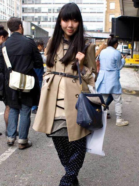 <p>Susie Bubble, 26, Blogger. ASOS coat, Calvin Klein dress, vintage trousers, Tori Burch bag, Doc Martin boots. </p>
