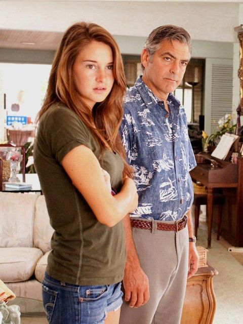 <p>Shailene Woodley with George Clooney in The Descendants</p>