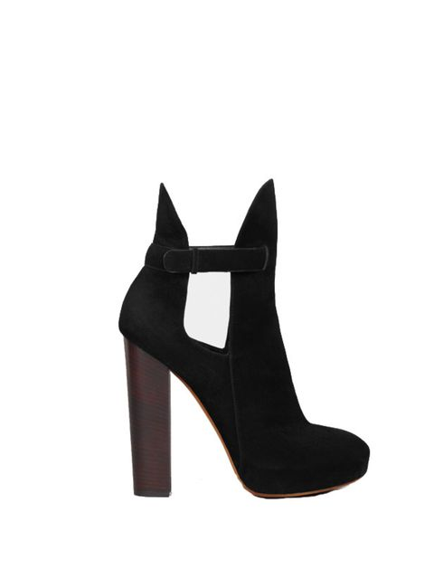 <p>Celine black suede cut-out ankle boot,£638, for stockists call 0800 123 400</p>