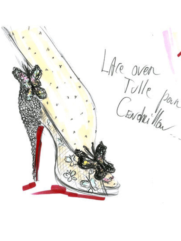 <p>A sketch of Louboutin's Cinderella shoe</p>