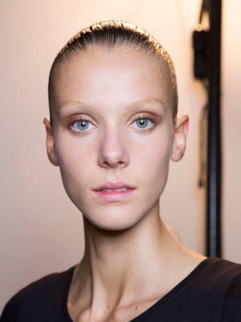 """<p><a href=""""http://www.elleuk.com/catwalk/alexander-wang/spring-summer-2015"""">Alexander Wang </a></p>  <p>The look: Bronze effect</p>  <p>Make-up artist: Diane Kendal for <a href=""""http://www.elleuk.com/beauty/badgley-mischka-trial-a-trend-multi-coloured-br"""