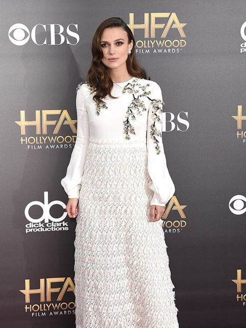 <p>Keira Knightley wears a Giambattista Valli SS 2015 gown with Casadei grey suede pumps to the Hollywood Film Awards in LA, November 2014.</p>