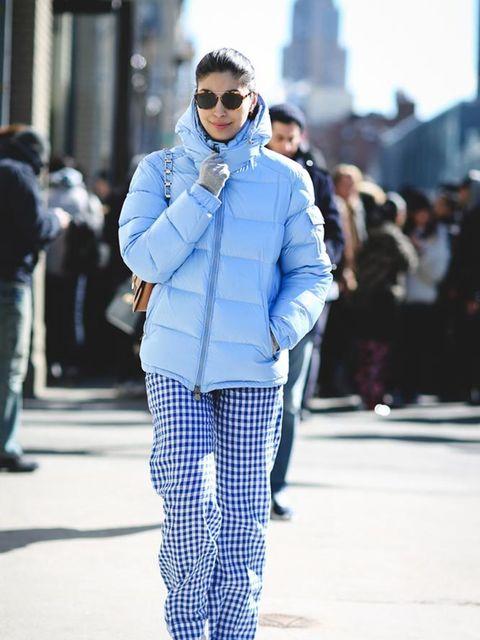 <p>Caroline Issa</p>  <p>Moncler jacket, J Crew trousers</p>