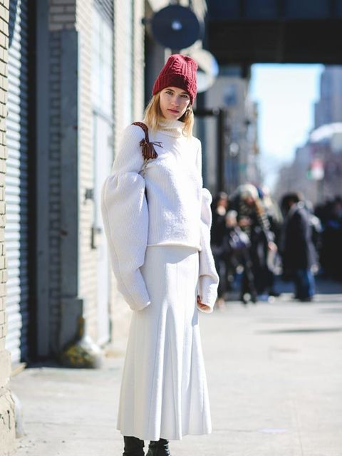 <p>Veronika Heilbrunner</p>  <p>Wearing Victoria Beckham, Altuzarra bag and Acne boots</p>
