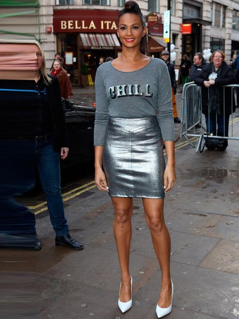 <p>Alesha Dixon out and about in London wearing metallics, 2013.</p>