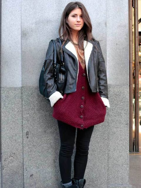 <p>Photo by Silvia Olsen @ Anthea SimmsGiada, 19, Student. Reiss jacket, Zara cardigan, Office boots, DKNY bag. </p>
