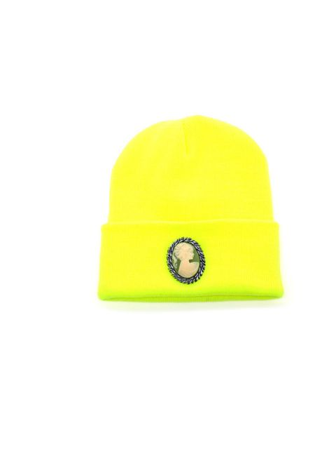 "<p>Neon beanie with a vintage cameo? We shouldn't but we so would… Silver Spoon Attire beanie hat, £45, at <a href=""http://www.brownsfashion.com/Product/Whats_New/Clothing/Whats_New_for_Women/Cameo_Beanie_Hat/product.aspx?p=4851249&cl=4&pc=1949737"