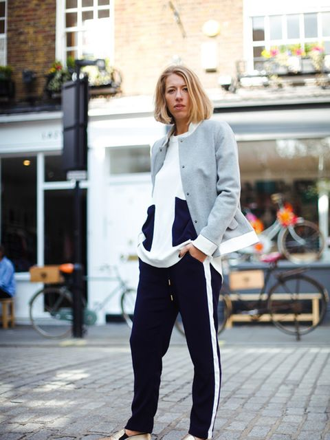 Harriet Stewart – Market and Retail Editor  Katherine Hooker bomber jacket, Yolke silk top and trousers,  Steve Madden trainers.