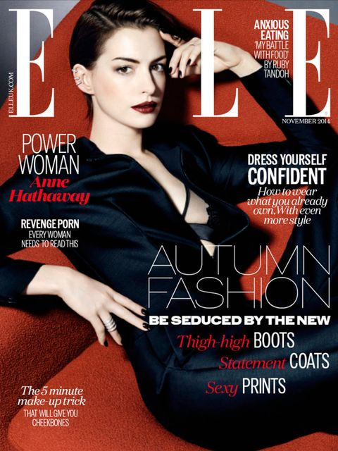 "<p>Anne Hathaway on the cover of <a href=""http://www.elleuk.com/now-trending/Anne-Hathaway-November-2014-cover-revealed"">ELLE November</a> Issue</p>"