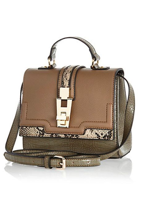 "<p>Khaki green and animal print. Two trends in one. </p>  <p> </p>  <p><a href=""http://www.riverisland.com/women/bags--purses/shoulder-bags/Khaki-colour-block-structured-cross-body-bag-658938"" target=""_blank"">River Island</a> bag,  £30</p>"