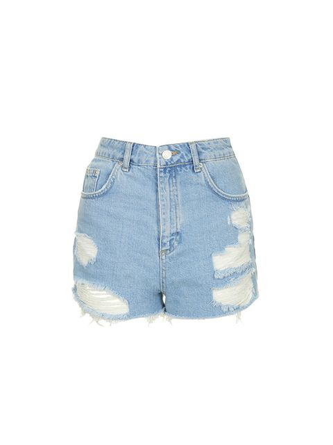 "<p><a href=""http://www.topshop.com/en/tsuk/product/clothing-427/shorts-448/moto-bleach-ripped-mom-shorts-4099370?bi=1&ps=20"" target=""_blank"">Topshop</a> denim shorts, £30<br />  </p>"