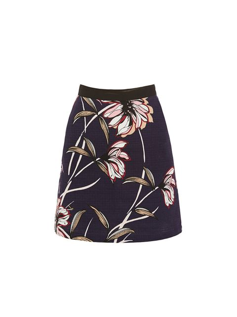 """<p><a href=""""http://www.warehouse.co.uk/wallpaper-floral-skirt/all/warehouse/fcp-product/02286399"""" target=""""_blank"""">Warehouse</a> floral mini skirt, &pound&#x3B;30</p>"""