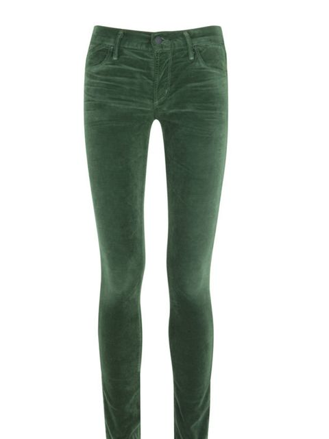 "<p>Citizens of Humanity velour skinny jeans, £225, at <a href=""http://www.harveynichols.com/womens/categories-1/jeans/skinny/s387244-avedon-velour-skinny-jeans.html?colour=GREEN"">Harvey Nichols</a></p>"