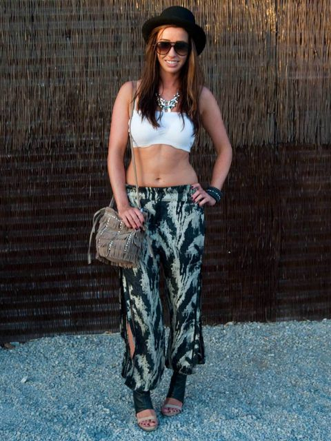 <p>Jasmin, 26, London, Designer. Topshop top, Sobo trousers, All Saints shoes, vintage hat and necklace, Ray Ban sunglasses, Zara bag, Vilton jewellery.</p>