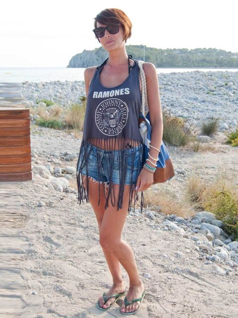 <p>Suyin, 32, London, HR. Primark top, vintage shorts, Havaianas flip-flops, Ray Ban sunglasses, H&amp;M bag, bracelet from Ibiza.</p>