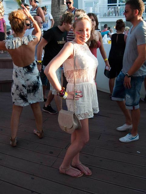 <p>Kerry, 23, Manchester, Bank. River Island dress, shoes and headband, Primark bag, vintage ring, Topshop and New Look bracelets.</p>