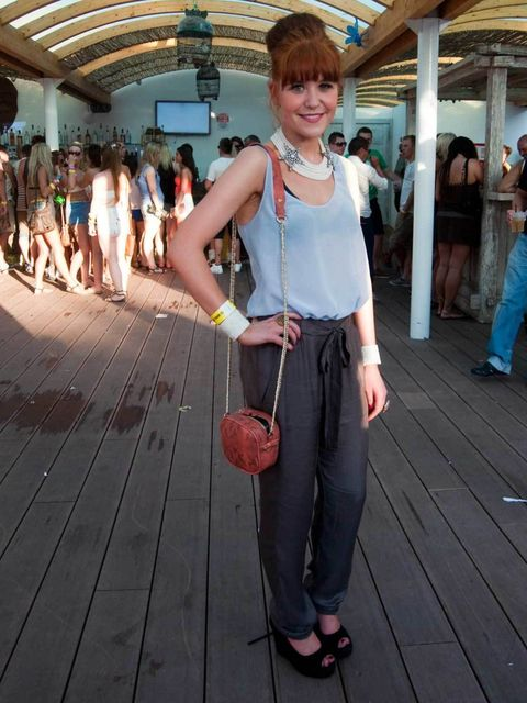 <p>Pamila, 25, Manchester, PR. French Connection top and trousers, Topshop shoes, Marks & Spencer bag, Mango necklace, Claudia Pink earrings and cuff, Beba and Accessorize rings.</p>