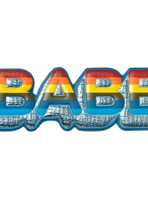 "<p>Babe sticker, £45, <a href=""http://www.anyahindmarch.com/Sticker-Shop/Babe-Sticker/Light-Blue-5050925917766.html?cgid=Stickers&start=26"" target=""_blank"">Anya Hindmarch</a></p>"