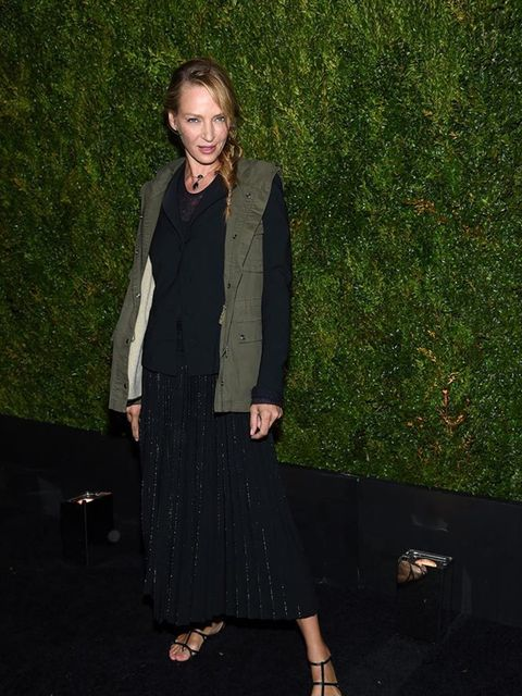 Uma Thurman attends the Chanel dinner during the Tribeca Film Fesitval 2015.