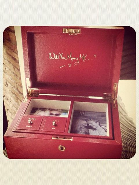<p>Poppy Delevingne tweeted a picture of this Anya Hindmarch leather jewellery box, part of boyfriend James Cook's romantic proposal</p>