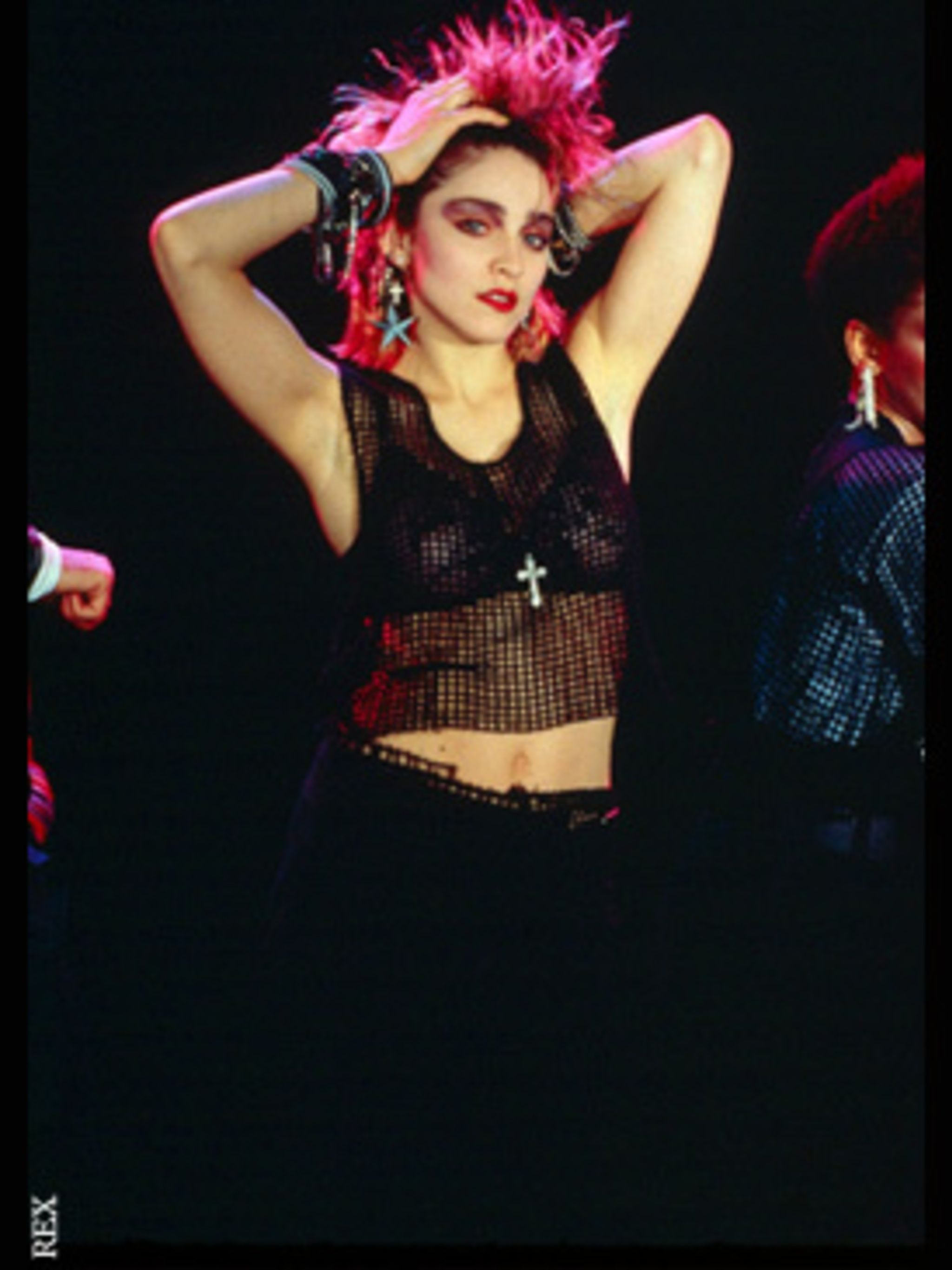 <p>Madonna bursts on to the scene in her own unique girl-punk look</p>