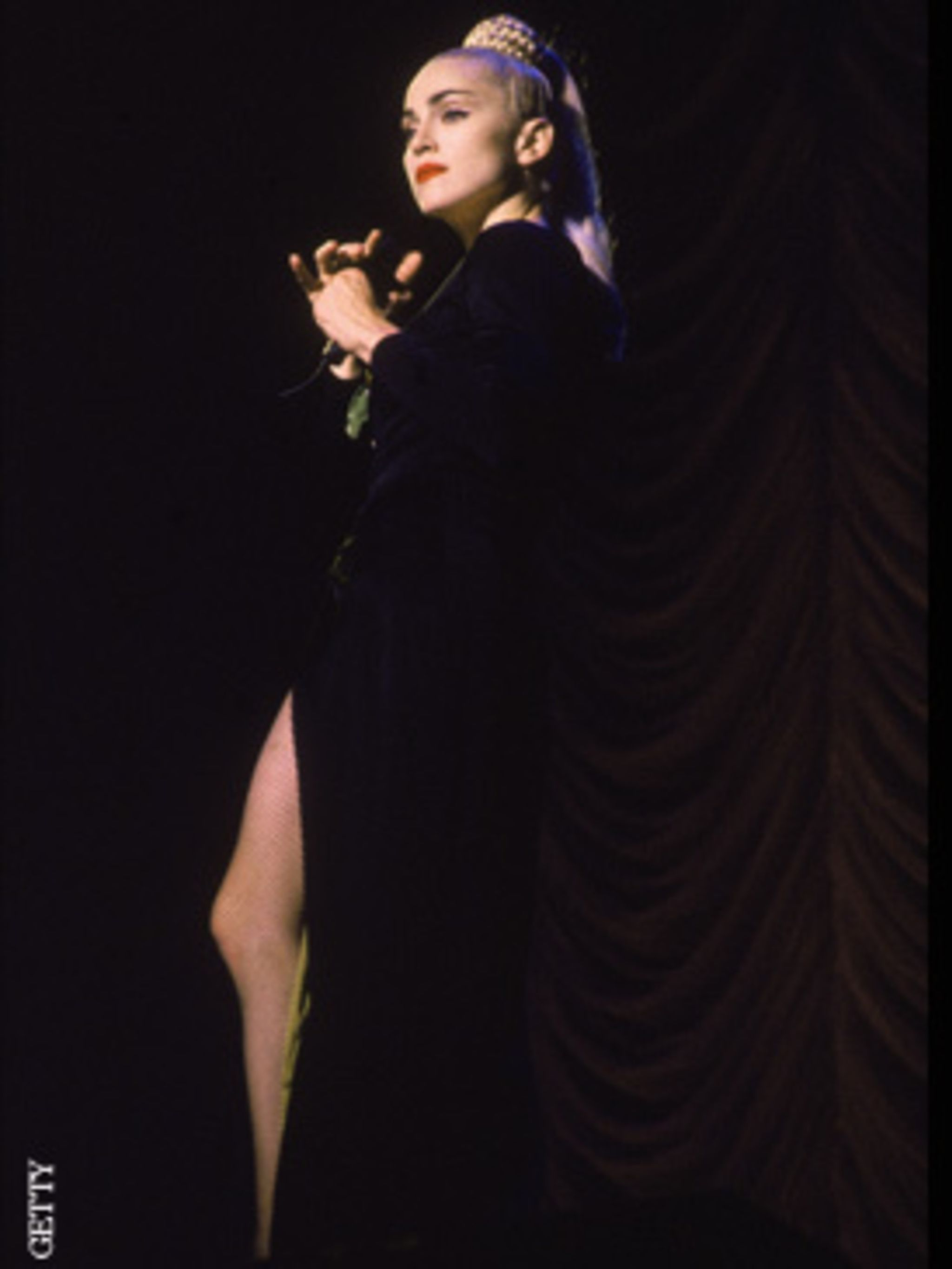 <p>The global super star had also become a global style icon, here in Jean Paul Gaultier</p>