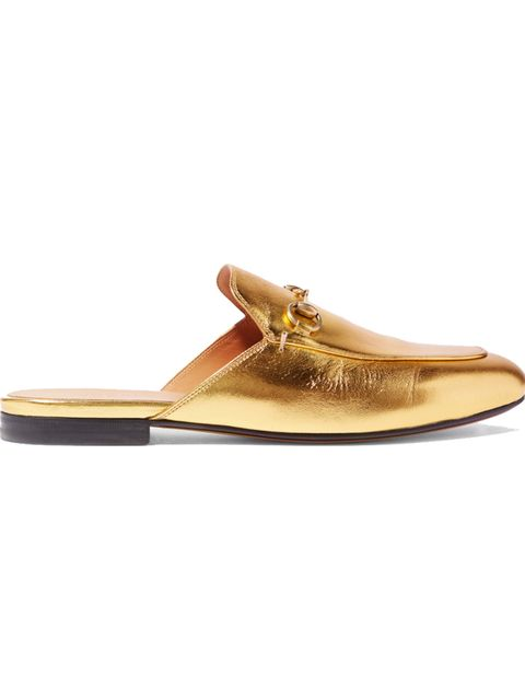 """<p>'Princetown' slippers, £380, <a href=""""https://www.net-a-porter.com/gb/en/product/714153/Gucci/horsebit-detailed-metallic-leather-slippers-"""" target=""""_blank"""">Gucci</a></p>"""