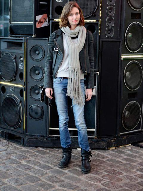 <p>Caroline Bertauld, PR, Paris. Eleven Paris jacket, H&amp;M sweater, Zara jeans, Les Petites Parisiennes boots, Maje scarf, Sabrina bag.</p>