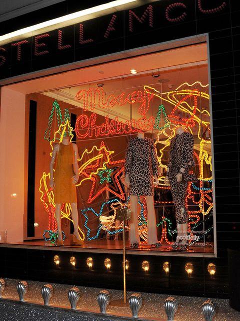 <p>Stella McCartney's lit up Bruton Street store</p>