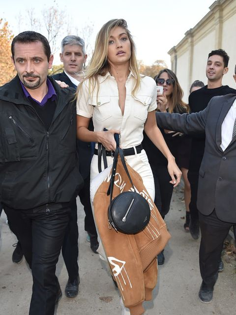 Gigi leaving the Elie Saab show in Paris.