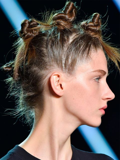 <p>Marc by Marc Jacobs</p>  <p>The look: Ravers Mohawk</p>  <p>Hair stylist: Gudio</p>  <p>Key product: Redken Wind Blown Texturising Spray (out early 2015).</p>  <p>Top tip: It's one of those deceiving styles that looks complicated but is actually fairly