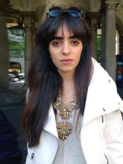 <p>Nouf Al Rashed, Alexander McQueen jacket, Vintage necklace & Top, </p>