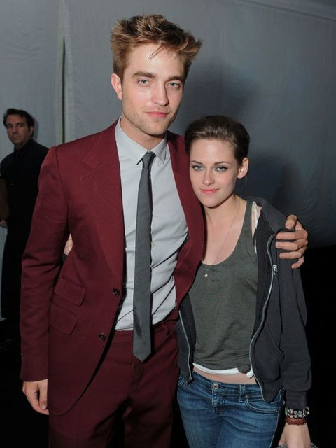 <p>Robert Pattinson and Kristen Stewart at the premiere after-party</p>