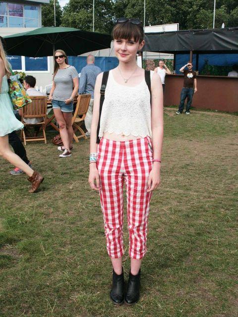 <p>Claire Healie, 20, Student.Monki top, Ebay trousers, Topshop boots.</p>