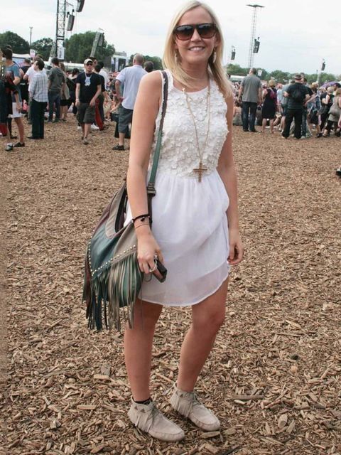 <p>Lisa Elliot, 31, Stylist.Topshop dress, H&amp;M boots, TK Maxx sunglasses, Asos bag.</p>