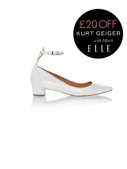 "<p>Kurt Geiger white 'Anais' pumps, £150</p><p><a href=""http://shopping.elleuk.com/browse?fts=kurt+geiger+anais+white"">BUY NOW</a></p>"