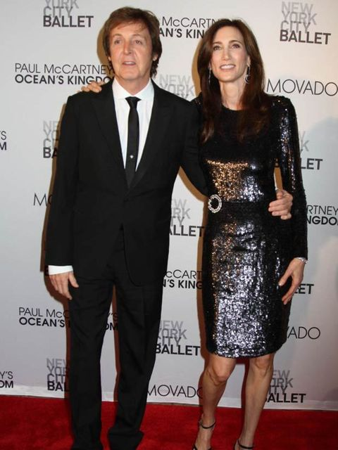 <p>Paul McCartney and Nancy Shevell attend the premiere of Ocean's Kingdom.</p>