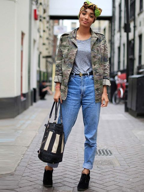 <p>Joanna, 26, TV Researcher. Topshop jacket and t-shirt, American Apparel jeans, Clarks shoes, vintage headscarf, Deena & Ozzy bag.</p>