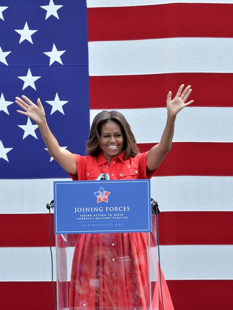 Michelle Obama speaks during her visit to the United States and Nato military base in Aviano, June 2015.