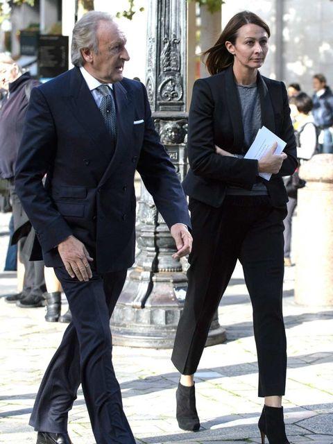 <p>Harold Tillman and Caroline Rush arrive for the Vidal Sassoon memorial service at St Pauls.</p>