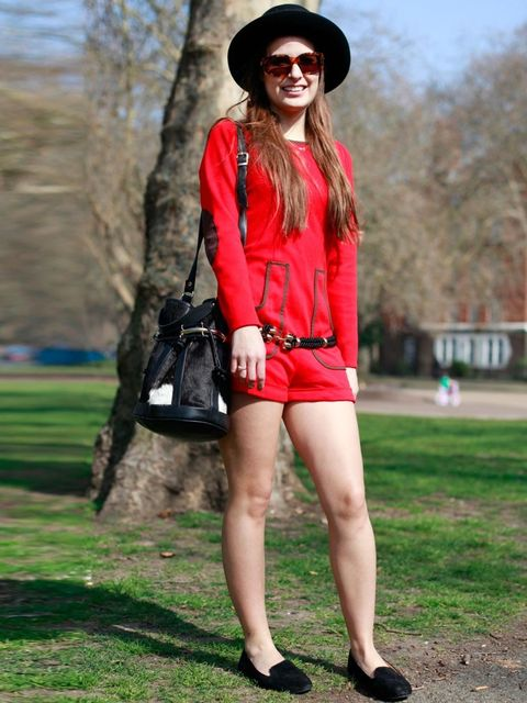 <p>Michelle, 20, Publicist. Jumpsuit bought in Madrid, bag from Argentina, Versace sunglasses, vintage shoes and hat.</p>