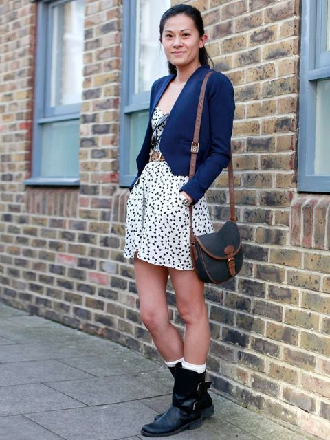 <p>Kee, 32, Graphics.Jacket from Hong Kong, Primark dress, Monki boots, vintage bag.</p>