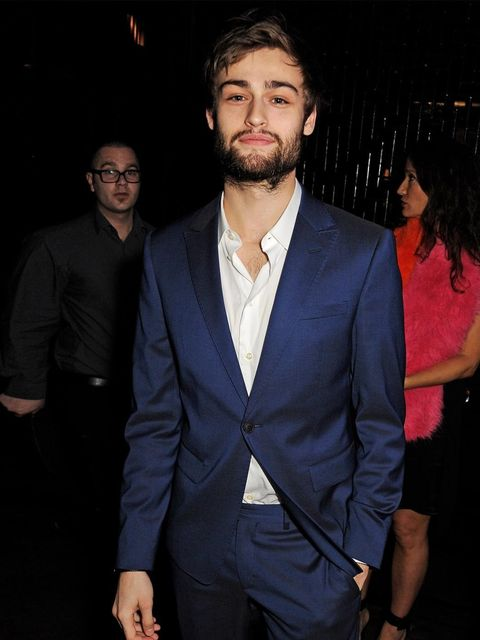 <p>Douglas Booth attended the men's closing dinner at the Hakkasan Hanway Place during London Collections: Men a/w 2014, London.</p>