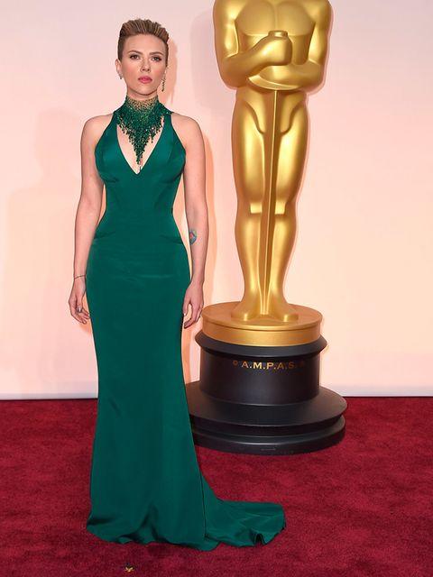 Scarlett Johansson wears Versace at the 2015 Oscars.