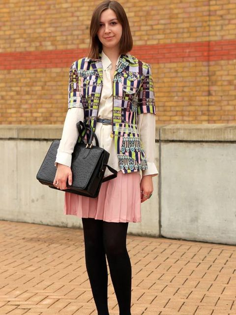 <p>Photo by Anthea Simms.Helena Raywood, 19, Student. Vintage jacket by Christian Lacroix, shirt from Grandmother, vintage belt by Christian Dior, vintage skirt, Etro shoes, vintage bag by Pierre Cardin.</p>